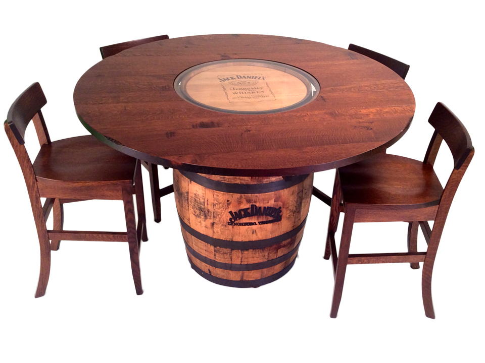 Jack Daniels Barrel Table And Bar Stools 5 Pc Set