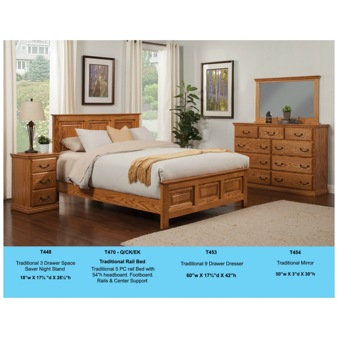 5 Piece Traditional Rail Bedroom Set By Odc Stewart Roth Furniture